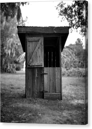 Out House In Black And White Canvas Print by Rebecca Brittain
