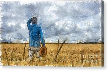 Out In The Fields Canvas Print by Edward Fielding