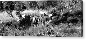 Out Of Bounds On The 18th Bw Canvas Print by Barbara Snyder