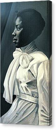 Out Of The Box Woman In Large White Bow  Canvas Print by Joyce Owens