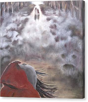 Canvas Print featuring the painting Out Of The Dark And Into The Light by Diane Daigle