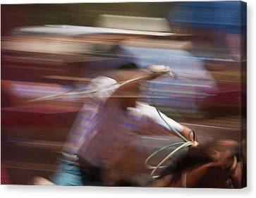 Canvas Print featuring the photograph Out Of The Gate by Roger Mullenhour