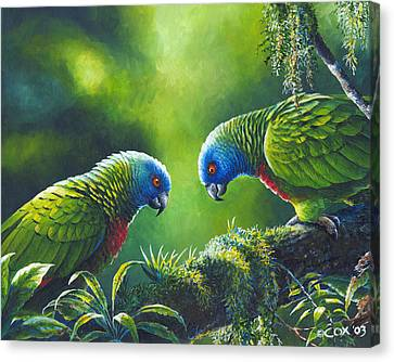 Out On A Limb - St. Lucia Parrots Canvas Print by Christopher Cox
