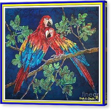 Out On A Limb- Macaws Parrots - Bordered Canvas Print by Sue Duda