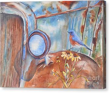 Rusted Cars Canvas Print - Out To Pasture by Patricia Pushaw
