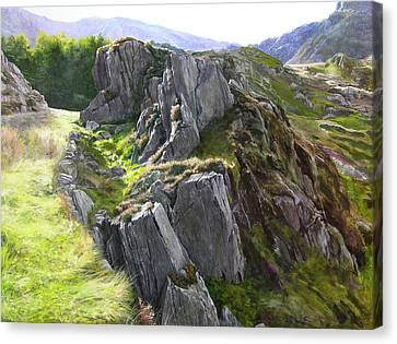 Canvas Print featuring the painting Outcrop In Snowdonia by Harry Robertson