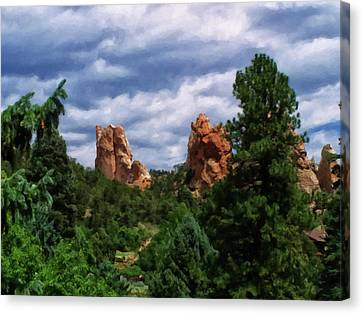 Canvas Print featuring the digital art outcroppings in Colorado Springs by Chris Flees