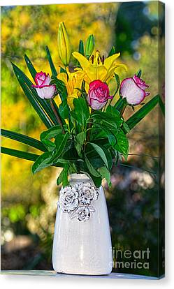 Outdoor Bouquet On Golden Bokeh By Kaye Menner Canvas Print by Kaye Menner