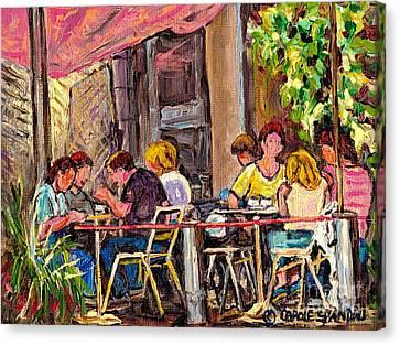 Outdoor Cafe Paintings Paris Style Sidewalk Terrace Rue St Denis Original Bistro Art Carole Spandau  Canvas Print by Carole Spandau