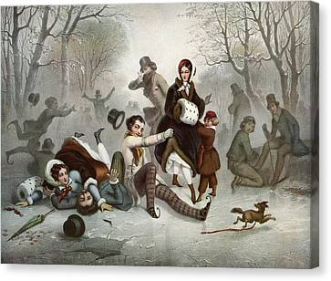 Outdoor Ice Skating In The 19th Canvas Print by Vintage Design Pics