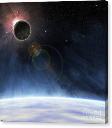Canvas Print featuring the digital art Outer Atmosphere Of Planet Earth by Phil Perkins