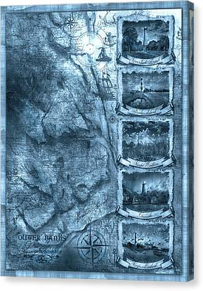 Outer Banks Lightouse Map 2 Canvas Print by Bekim Art