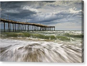 Outer Banks Nc Avon Pier Cape Hatteras - Fortitude Canvas Print by Dave Allen