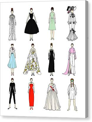 Outfits Of Audrey Fashion Canvas Print