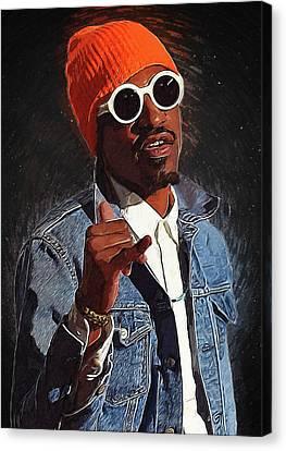 Lil Wayne Art Canvas Print - Outkast Andre 3000 by Semih Yurdabak