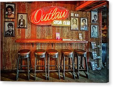 Outlaw Social Club Canvas Print by Debra and Dave Vanderlaan