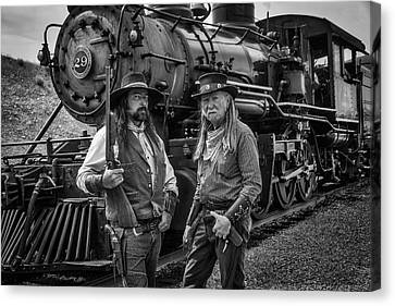 Outlaws With Old Steam Train Canvas Print