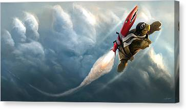 Canvas Print featuring the digital art Outrunning The Clouds by Steve Goad