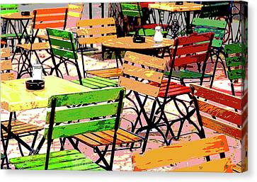 Outside Dining Canvas Print