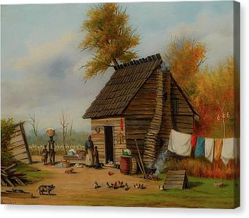 Outside The Cabin Canvas Print by William Walker