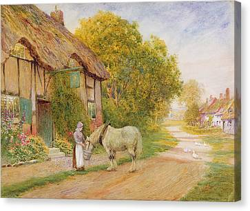 Feeding Canvas Print - Outside The Village Inn by Arthur Claude Strachan