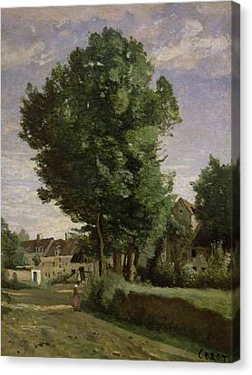 Outskirts Of A Village Near Beauvais Canvas Print by Jean Baptiste Camille  Corot