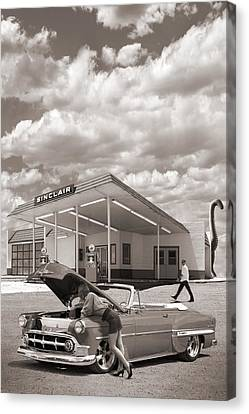 Over Heating At The Sinclair Station Sepia Canvas Print by Mike McGlothlen