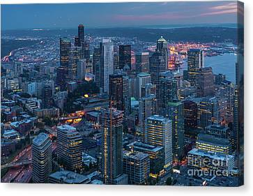 Over Seattle A Beautiful Downtown Canvas Print by Mike Reid