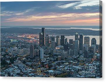 Over Seattle Downtown And The Stadiums Canvas Print by Mike Reid