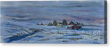 Over The Bridge And Through The Snow Canvas Print by Charlotte Blanchard