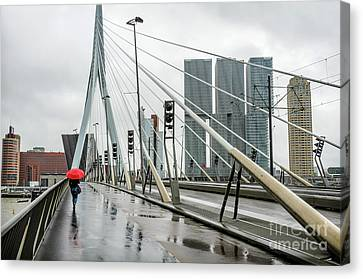 Canvas Print featuring the photograph Over The Erasmus Bridge In Rotterdam With Red Umbrella by RicardMN Photography