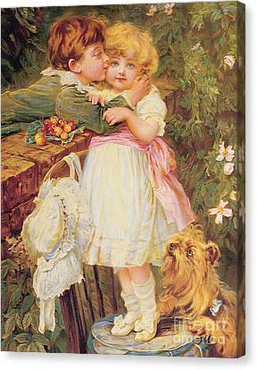 The Kiss Canvas Print - Over The Garden Wall by Frederick Morgan