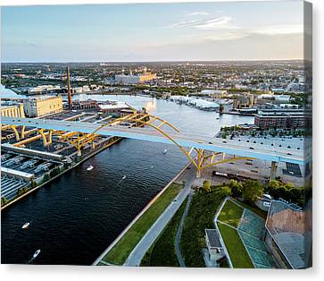 Canvas Print featuring the photograph Over The Hoan by Randy Scherkenbach