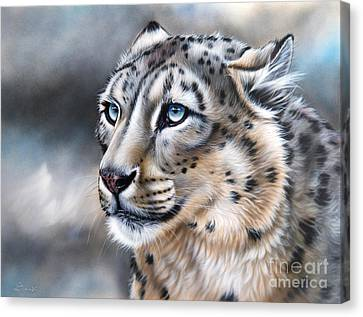 Snow Leopards Canvas Print - Over The Mountain by Sandi Baker