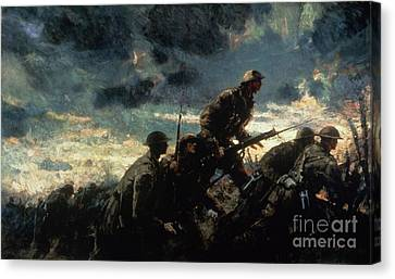 1918 Canvas Print - Over The Top by Alfred Bastien