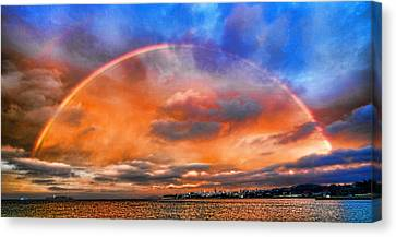 Canvas Print featuring the photograph Over The Top Rainbow by Steve Siri