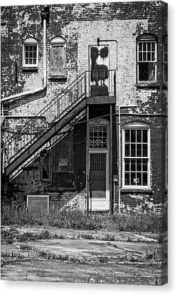 Canvas Print featuring the photograph Over Under The Stairs - Bw by Christopher Holmes