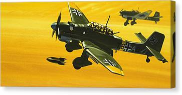 Overboard Junkers Ju87 Stuka Dive Bomber Canvas Print by Wilf Hardy
