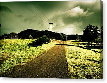 Scenic Drive Canvas Print - Overcast Storm Road by Jorgo Photography - Wall Art Gallery