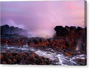 Blowhole Canvas Print - Overcome By The Tides by Mike  Dawson