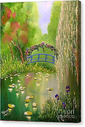 Pallet Knife Canvas Print - Overgrown Pond by Viktoriya Sirris