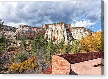 Canvas Print featuring the photograph Overlook In Zion National Park Upper Plateau by John M Bailey