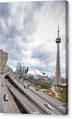 Canvas Print featuring the photograph Overlooking The Expressway by Anthony Rego