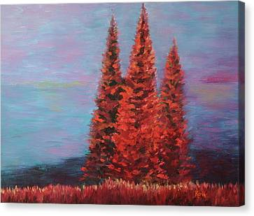 Canvas Print featuring the painting Overlooking The Lake by Karin Eisermann