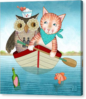 Row Boat Canvas Print - Owl And Cat by Valerie Drake Lesiak