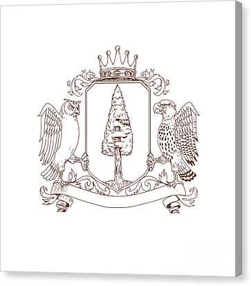 Family Crest Canvas Print - Owl And Hawk Redwood Crown Crest Drawing by Aloysius Patrimonio