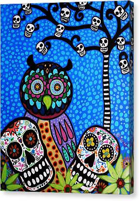 Owl And Sugar Day Of The Dead Canvas Print by Pristine Cartera Turkus