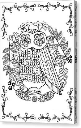 Summer Flowers Canvas Print - Owl by Anne Vasko
