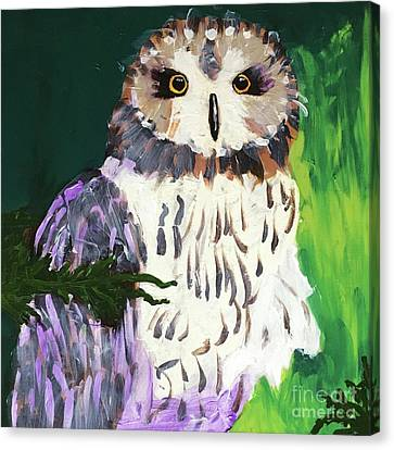 Canvas Print featuring the painting Owl Behind A Tree by Donald J Ryker III