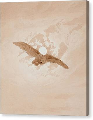 Owl Flying Against A Moonlit Sky Canvas Print